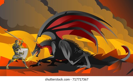 1000+ Medieval Knight Fights Dragon Stock Images, Photos