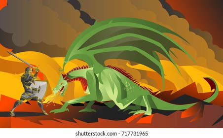 knight hero fighting a green dragon in the fire