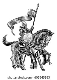 A knight holding a spear or lance with banner flag and shield on the back of horse in a medieval vintage woodcut engraved or etched style