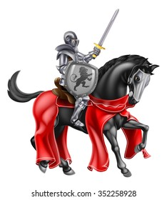 A knight holding a sword and shield on the back of a black horse