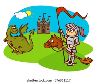 knight, horse, dragon, castle, fairy tale