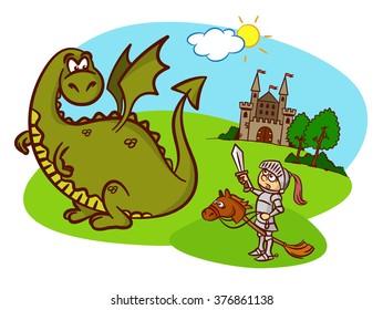 knight, horse, dragon, castle, fairy tale