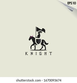 Knight Horse Logo Design. Knight Horse Logo Template. Modern Design. Flat Logo. Vector Illustration