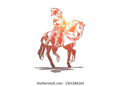 Knight, horse, medieval, character, armor concept. Hand drawn ancient knight dressed in armor on knight concept sketch. Isolated vector illustration.