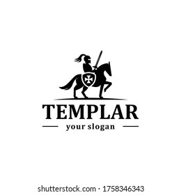 Knight with horse, sowrd, and shield logo design. Templar logo.