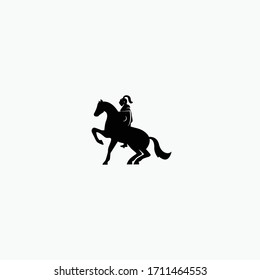 Knight horse warrior flat vector illustration isolated on white