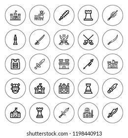 Knight icon set. collection of 25 outline knight icons with armor, bishop, chess piece, castle, dagger, knight, lance, mace, rook, sabre, spear, viking icons. editable icons.