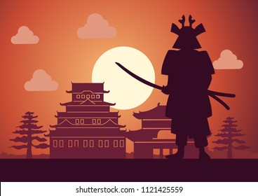 knight of japan called Samurai pose in front of castle mean to protect his respect place on sunset time,silhouette design,vector illustration