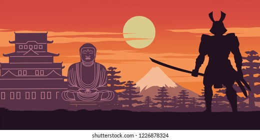 knight of japan called Samurai pose in front of castle and Buddha sculpture mean to protect his respect place on sunset time,silhouette design,vector illustration