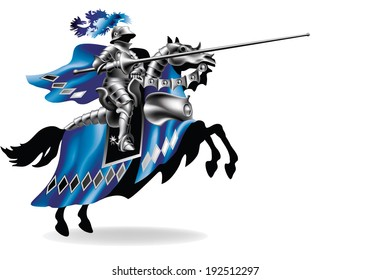 Knight with lance on horse left on white background - toned in robes