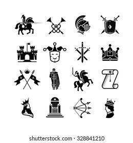 Knight medieval history vector icons set. Middle ages warrior weapons. Arrow and crown, clown and knight, kingdom and throne illustration
