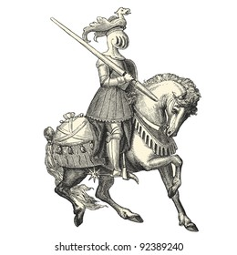 "Knight of the Middle Ages - vintage engraved illustration - ""Costumes anciens et modernes "" by Cesare Veccello ed.Firmin-Didot  in 1859 - Paris"