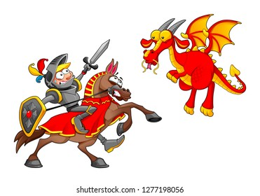 Knight on horse fighting the dragon. Funny cartoon medieval fantasy isolated vector characters.