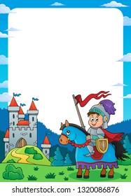 Knight on horse theme frame 1 - eps10 vector illustration.
