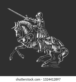 The knight on horseback. The picture is made in the style of engraving.