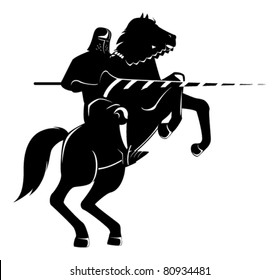 knight on horseback with spear fighting