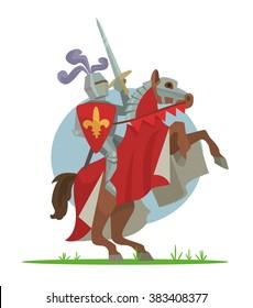 Knight on horseback. Vector cartoon illustration