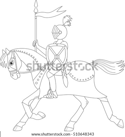 Knight On A Running Horse Coloring Page