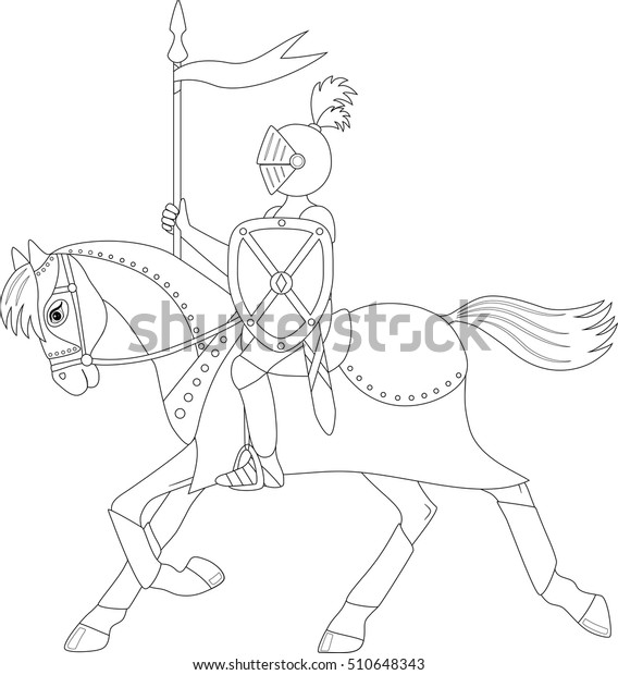 Download Free png Knight on Horse Coloring Page - DLPNG.com | 620x568