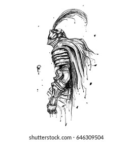 Knight painted in ink, blot, leaking paint, medieval warrior.
