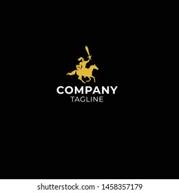 knight rides a horse and holds a sword in silhouette style logo design