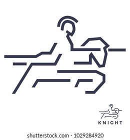 Knight riding abstract line