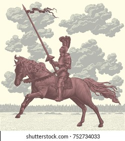 Knight Riding a Horse. Hand drawn engraving. Vector vintage illustration. Isolated on light background. 8 EPS