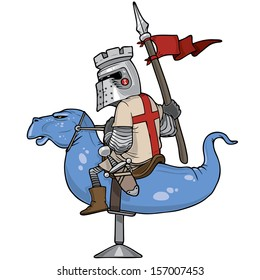 Knight riding a mechanical dragon, vector illustration