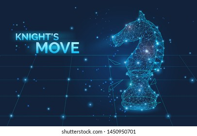 Knight s move sign and low poly Chess horse vector illustration. Symbol of business strategy, promotion, competition and leadership. Polygonal wireframe chess horse with dots and lines.