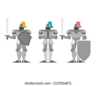 Knight set. Metal armor warrior. Iron armor. Plate and sword. Vector illustration