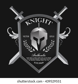 Knight shield and helmet vintage badge logo vector