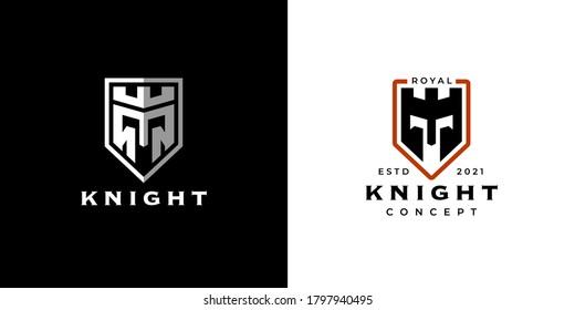 Design-Konzept des Ritter Schildes Logo Symbol-Design. Das Symbol für das Sicherheitsgeschäft im Verteidigungsbereich. Symbol für den Wappenrüstung-Krieger. Abstrakter Schlosswächter mit Eisenhelm-Kronenzeichen. Vektorgrafik.