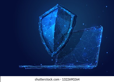 Knight shield on a laptop background. Abstract Low poly wireframe illustration. Polygonal isolated protect internet data concept. Starry sky consisting of points and lines. 3D vector security concept.
