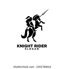 Knight with shield and spear on a horse logo with negative space style icon designs symbol template illustration