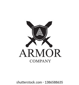 Knight Shield and Sword Initial logo design inspiration. simple vector