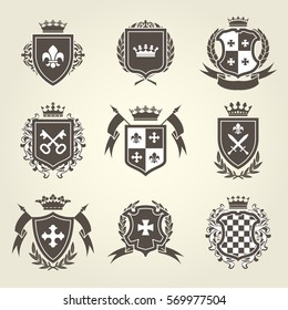 Knight shields and royal coat of arms set