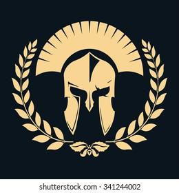 Knight silhouette with laurel wreath, Spartan Warrior, gladiator  icon. Vector