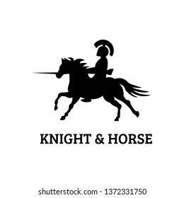 Knight spartan and horse logo - clip art vector