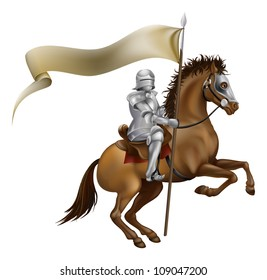 A knight with spear and banner mounted on a powerful horse