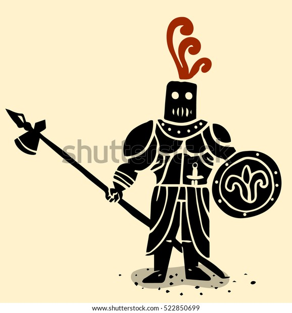 Knight Spear Shield Stock Vector (Royalty Free) 522850699