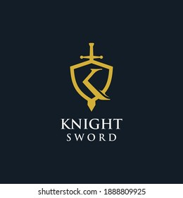 Knight sword logo letter K shield