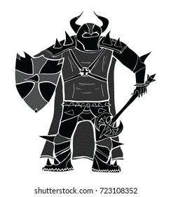 Knight with sword and shield detailed vector silhouette