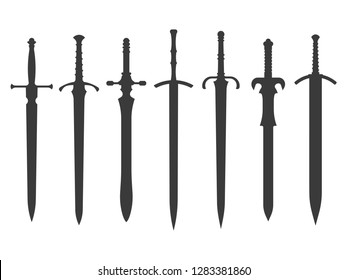 knight swords isolated on white background. Swords silhouettes. Vector illustration