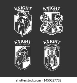 Knight Vector Emblem in Monochrome Color
