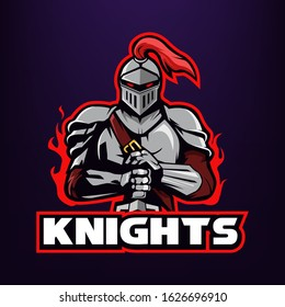 knight warrior holding a sword mascot logo design isolated on dark background, mascot and esport logo for team_vector eps 10