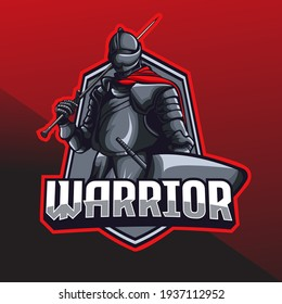 knight warrior holding a sword mascot logo template