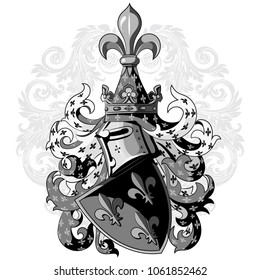 Knightly coat of arms. Heraldic medieval knight helmet, shield and Medieval knight ornament, isolated on white, vector illustration