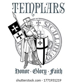 Knightly design. Knight Templar in armor with a spear, shield, flag and Medieval knight seal, isolated on white, vector illustration