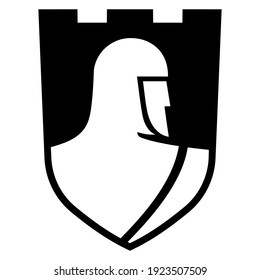 Knightly design. Knight Templar in a heraldic shield with crosses, isolated on white, vector illustration