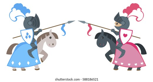 Knights in armor with spears and shields on horseback in the tournament. Vector